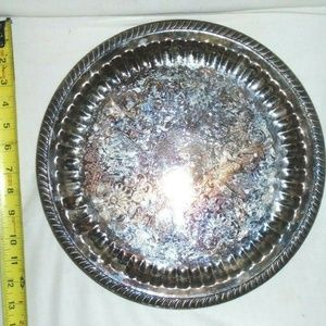 Vintage Silverplated Serving Round Tray Party